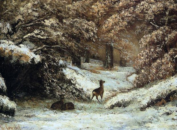 Courbet-La Remise des chevreuils en hiver -1866 Lyon