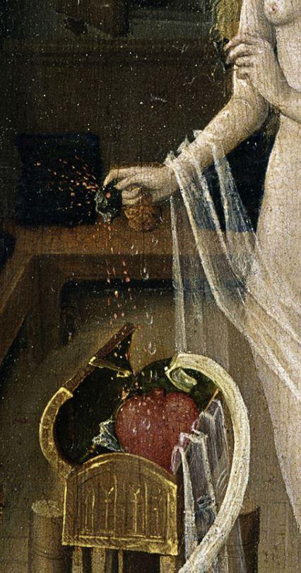 1470 ca Niederrheinischer Meister, Der Liebeszauber (Love potion), -, Tempera on copper beech,  Museum der Bildenden Kuenste, Leipzig coeur