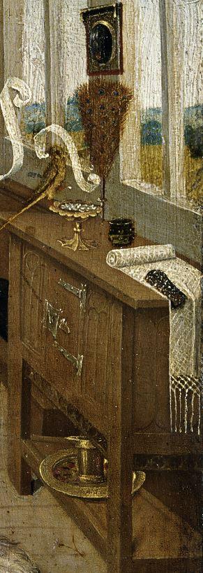 1470 ca Niederrheinischer Meister, Der Liebeszauber (Love potion), -, Tempera on copper beech,  Museum der Bildenden Kuenste, Leipzig meuble