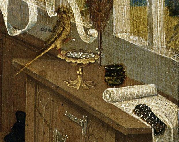 1470 ca Niederrheinischer Meister, Der Liebeszauber (Love potion), -, Tempera on copper beech, Museum der Bildenden Kuenste, Leipzig perroquet