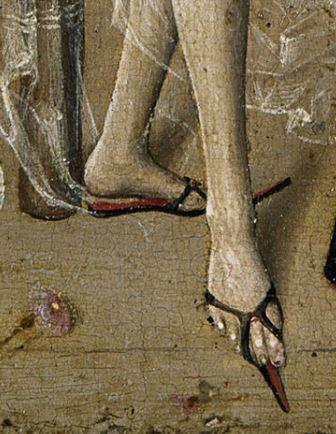 1470 ca Niederrheinischer Meister, Der Liebeszauber (Love potion), -, Tempera on copper beech,  Museum der Bildenden Kuenste, Leipzig poulaines