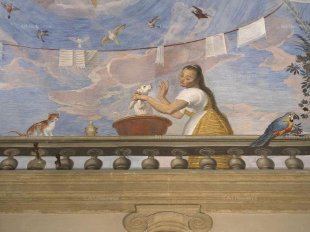 1588 Allori, Alessandro Loggia in the Apartment of the Bishops and Princes, detail of woman with dog, cat and parrot Palazzo Pitti, Florence, Italy