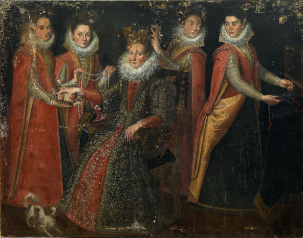 1603-1614 Lavinia Fontana Portrait of five women, with a dog and a parrot