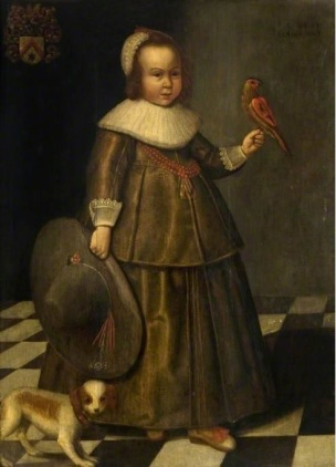1644 Unknown Artist (Dutch School), Portrait of a boy, aged three, with a large hat and a parrot, Glasgow Museums, Glasgow.