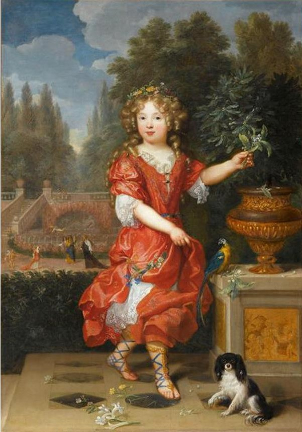 1669 Pierre Mignard Mademoiselle de Blois, Marie-Anne de Bourbon, daughter of Louis XIV and Louise de La Vallière, Musee du Louvre, Paris.