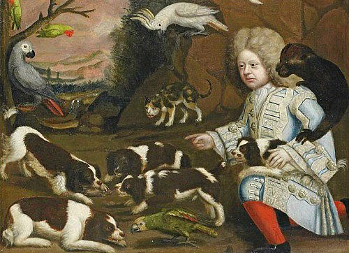 1680 caUnknown (Anglo-Dutch) Boy with Marmoset and Spaniels in a Landscape Late 17th century