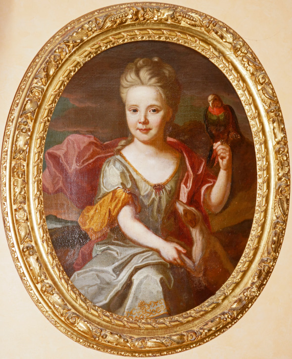 1700 Jeune fille au perroquet et au chien