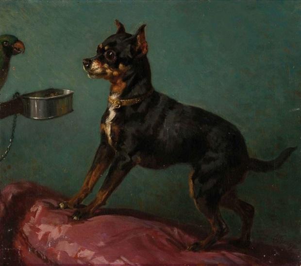 1850 ca Filippo Palizzi (attribuito) (1818-1899), Cagnolino e pappagallo,Kunsthandel.