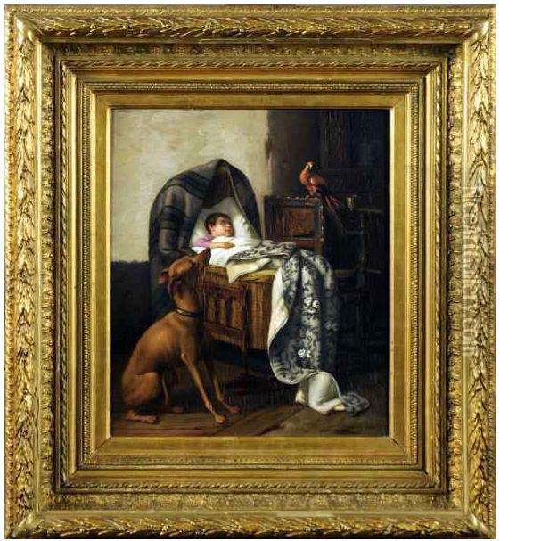 1870 Joseph Gyselinckx Chien et perroquet gardant le Landau coll part