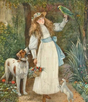 1880 ca Unknown artist Portrait of a girl with her two dogs and a parrot watercolour