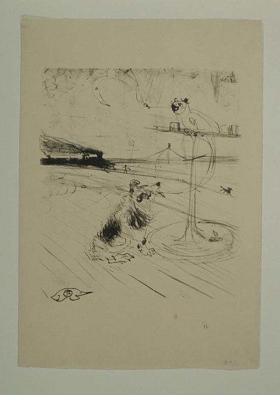 1899 Henri de Toulouse Lautrec, Le chien et le perroquet, lithographie, Bibliotheque de l Institut National d Histoire de l Art (collections Jacques Doucet)
