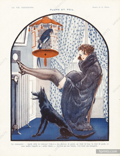 1922-georges-pavis--plume-et-poil-parrot-and-dog-hprints-com