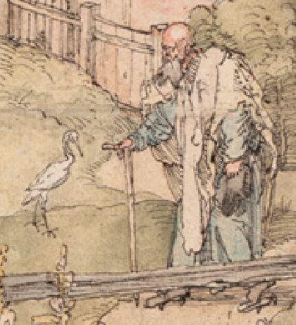Albrecht Dürer, Maria mit den vielen Tieren, um 1503, Feder in Schwarzbraun, Aquarell, feiner Raster in schwarzer Kreide, -, Grafische Sammlung der Albertina, Wien cigogne