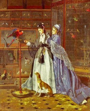 Camille Leopold Cabaillot Lassale - Chez le marchanf d oiseaux 1873 coll privee