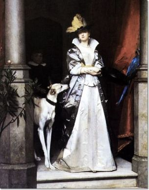 Florent Willems - An Elegant Lady with Greyhound 1867 Collection privee