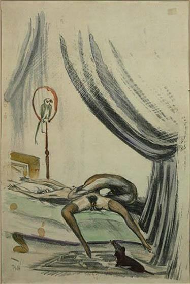 M 1910 ca Unbekannte Kunstler, Liebespaar handcolorierte Lithographie auf Papier