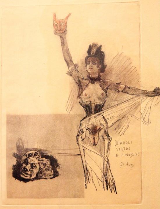 02 1875 ca Rops Humanite  Diaboli Virtus in Lombis  St Aug. (Etude pour Naturalia) Musee Rops