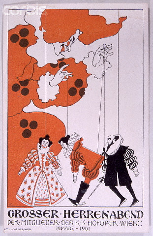 Advertisement for a Gentleman's Evening at the Vienna Opera by Heinrich Lefler
