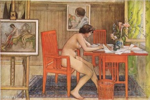 1906 Carl Larsson Model Writing Postcards Leontine Lindstrom