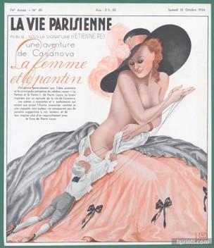1936-georges-leonnec-la-femme-et-le-pantin-sexy-looking-girl-topless-puppet-hprints-com