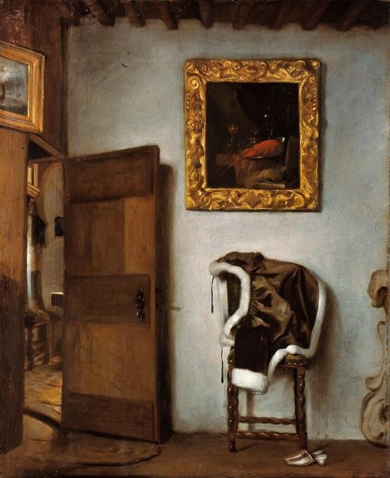 Hendrik-van-der-Burgh-Interieur-avec-une-veste-sur-une-chaise-Gemaldegalerie-Berlin