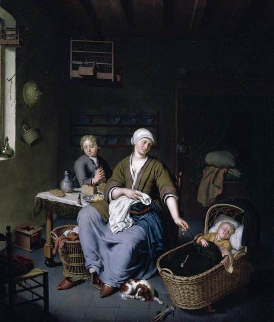 Mieris,_Willem_van_-_Interior_with_a_Mother_Attending_her_Children_-_1728