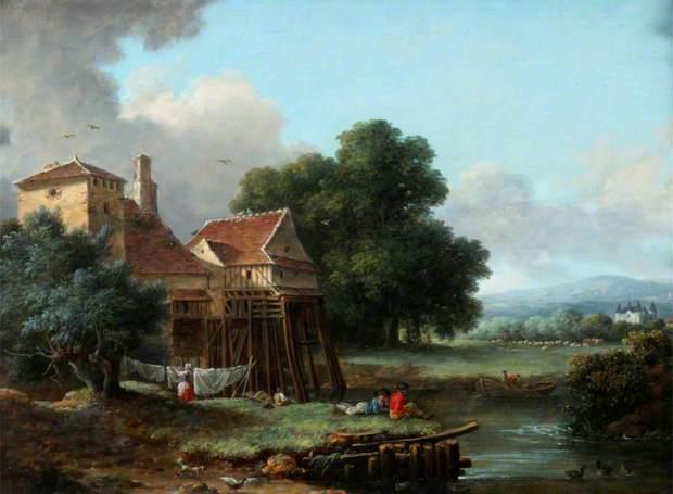 Pau de Saint-Martin, Alexandre, active c.1769-1848; Water Mill, Charentonneau