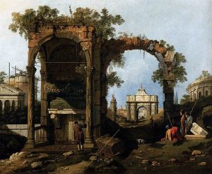 Giovanni_Antonio_Canal,_il_Canaletto_-_Capriccio with Classical Ruins and Buildings_ Accademia 1750