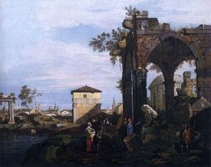 Giovanni_Antonio_Canal,_il_Canaletto_-_Capriccio_with_Ruins_and_Porta_Portello,_Padua_-_WGA03971 Accademia 1750