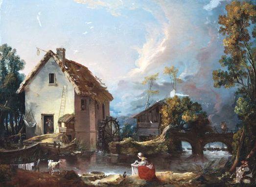 paysage-de-riviere-avec-un-moulin-a-eau-et-un-pont-julliart