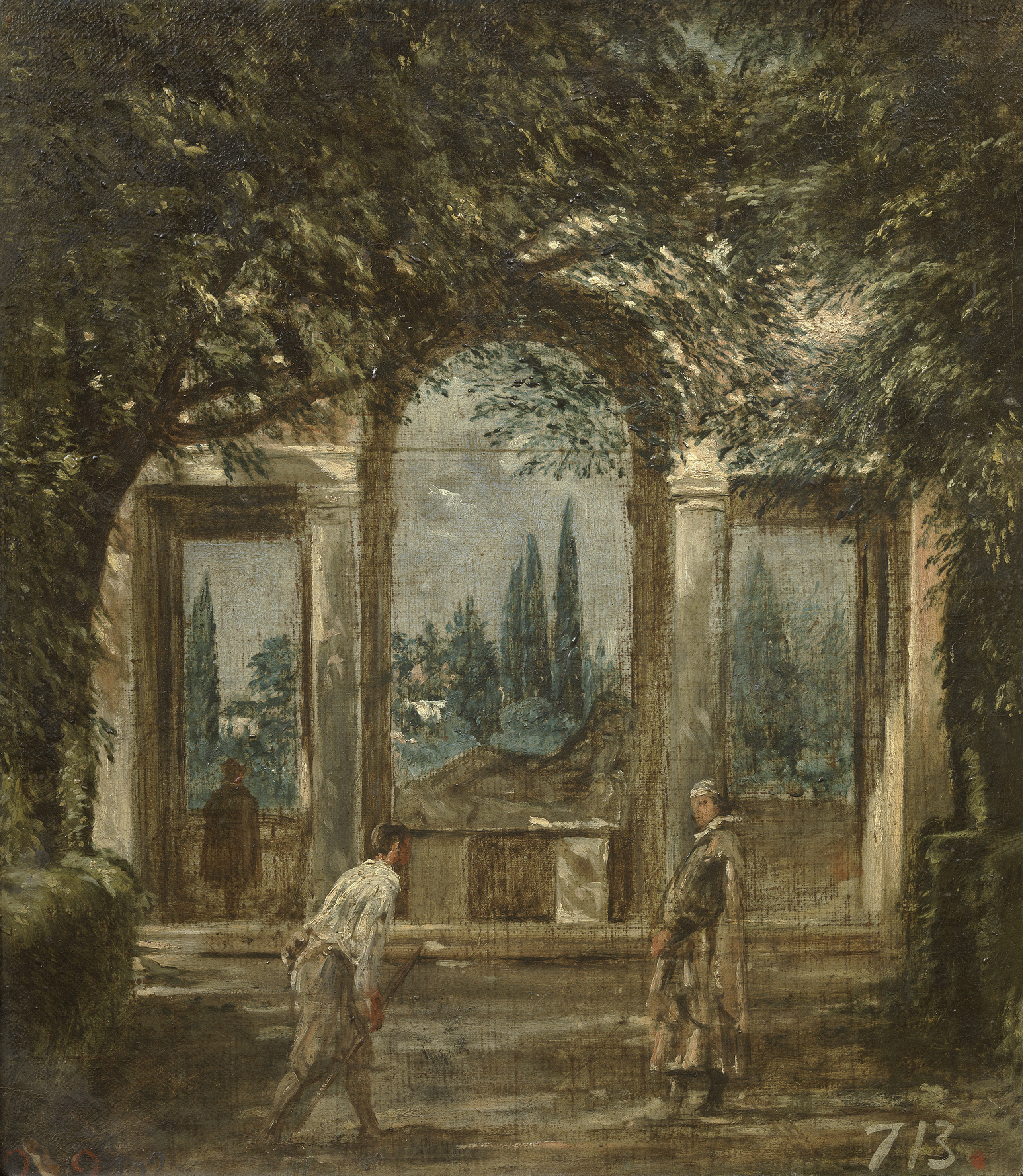 Pendants architecturaux pendants hubert robert for Jardin villa medicis rome