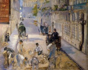 Manet LA RUE MOSnIER AUX PAVEURS - 1878