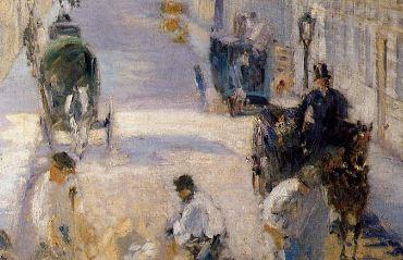 Manet LA RUE MOSnIER AUX PAVEURS - 1878 detail fiacres