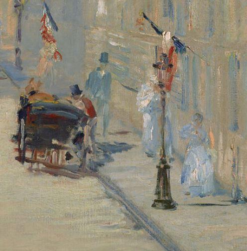 Manet LA RUE MOSnIER AUX drapeaux - 1878 getty malibu detail trottoir droite