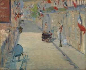 Manet LA RUE MOSnIER AUX drapeaux - 1878 getty malibu