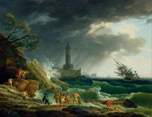 Vernet 1770 Port mediterraneen avec tempete Getty Museum