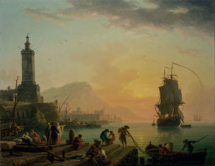 Vernet 1770 Port mediterraneen par mer calme Getty Museum
