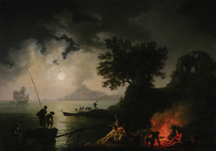 Volaire 1770 View of Naples in Moonlight The Huntington, Pasadena