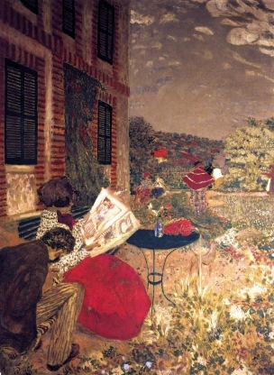 Vuillard Femme lisant sur un banc woman reading on a bench 1898 Coll privee