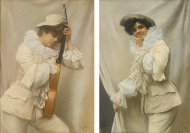 Edmundo Pizzella 1906 Le musicien et Derriere le rideau Pastels