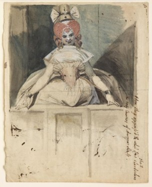 Fussli A Woman on a balcony with high dressed hair and hat 1790-92