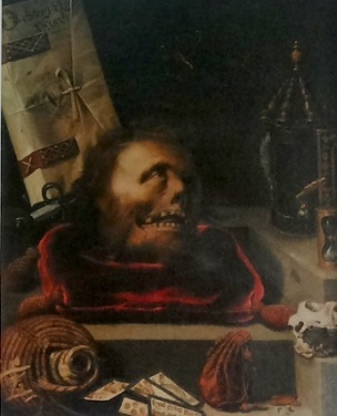 Jacopo Ligozzi, Vanitas verso of male portrait, 1604, panel, private collection