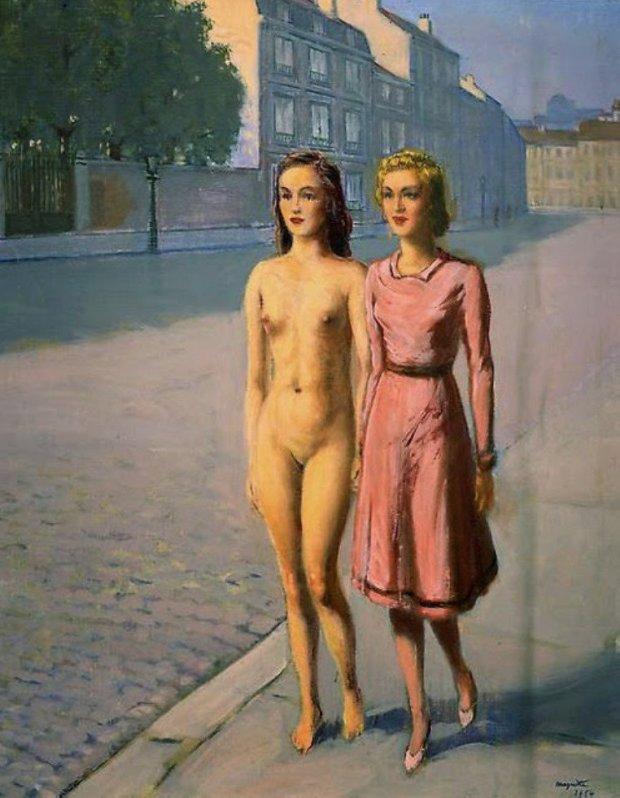 Magritte Fillette et Fillette nue se promenant dans la rue 1954