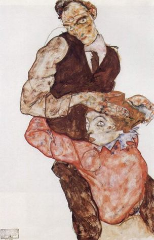 Schiele Two lovers (self portrait with Wally), 1914-15 Coll part