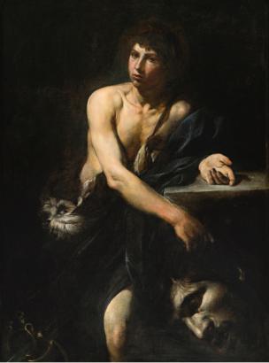 Valentin de Boulogne, David avec la tete de Goliath, 1627 coll privee