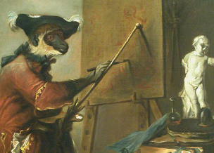 chardin-Le singe peintre-1740 Louvre Paris detail
