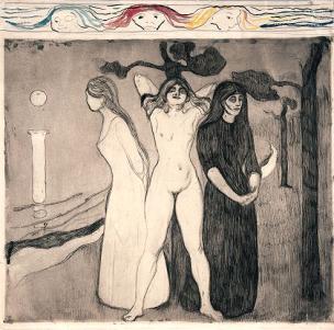 edvard-munch-women-I 1895 eau forte et pointe seche
