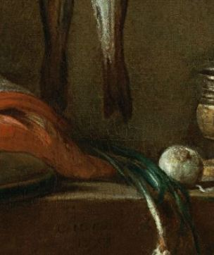 Chardin 1728 Still Life With Cat and Fish Museo Thyssen-Bornemisza, Madrid detail centre