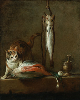 Chardin 1728 Still Life With Cat and Fish Museo Thyssen-Bornemisza, Madrid