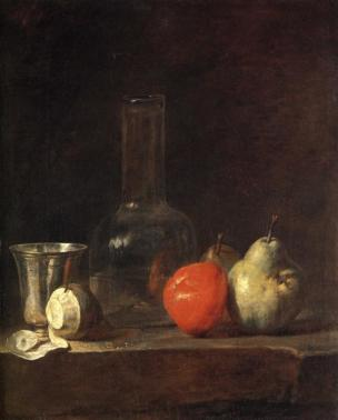 Chardin 1728 ca Carafe d'eau avec gobelet d'argent citron pele pommes et poires Kunsthalle Karlsruhe